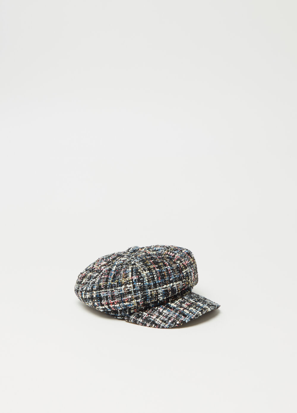 Multicoloured tweed baker boy hat with pattern