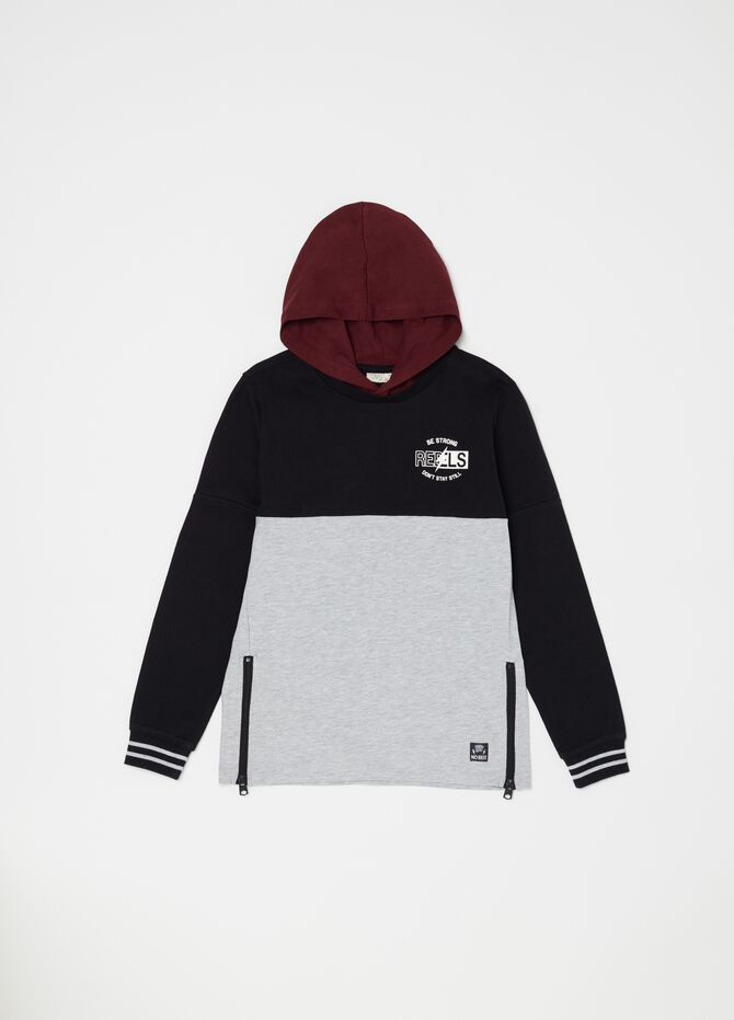 100% cotton T-shirt with zip and hood