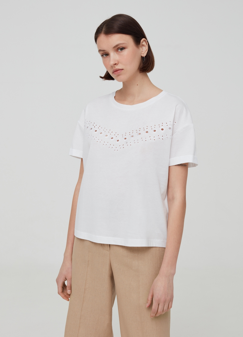 100% cotton T-shirt with openwork embroidery image number null