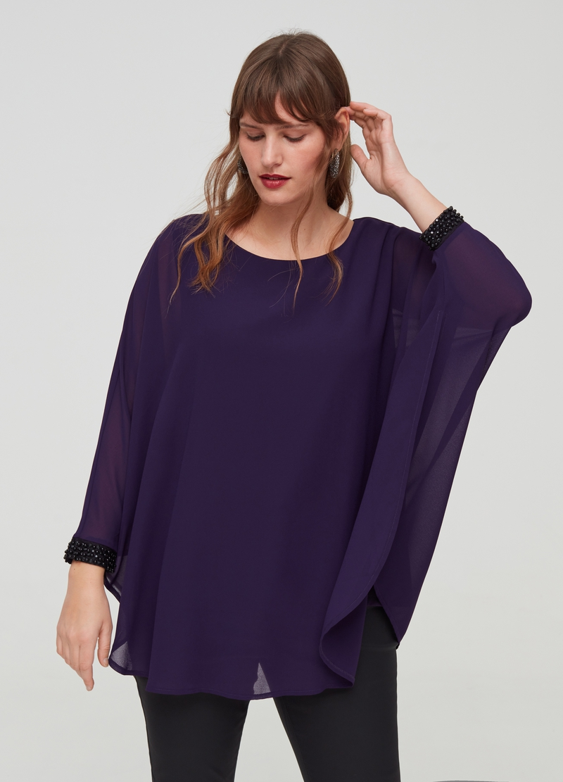 Curvy kimono blouse with beads image number null