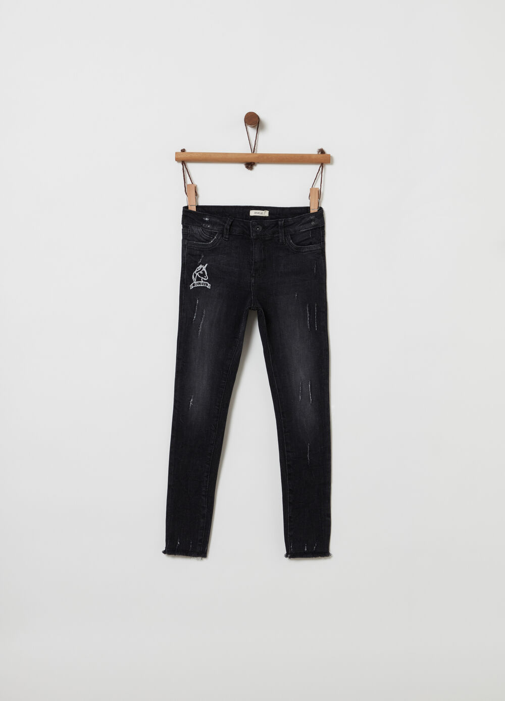 Jeans ankle skinny fit effetto vintage