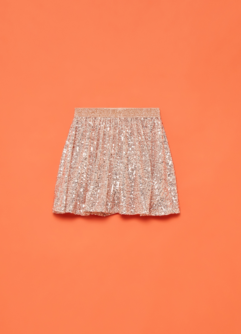 Pleated miniskirt with sequins image number null