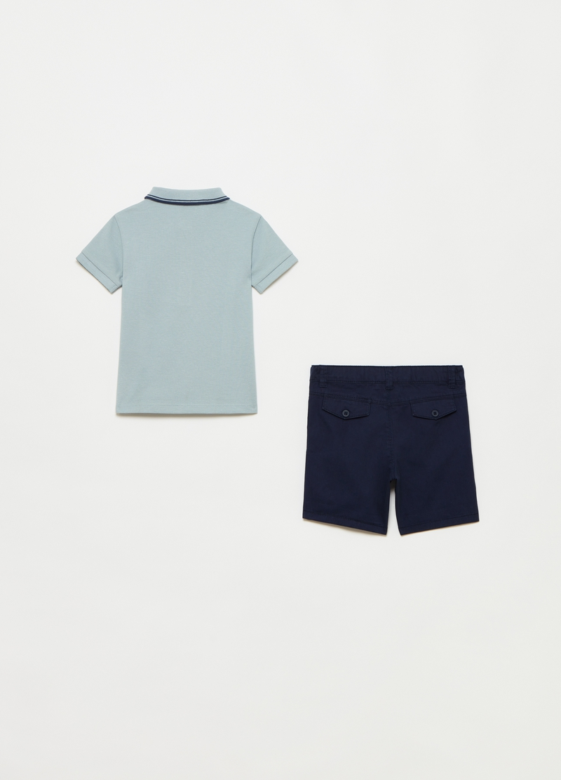 Polo shirt with mock braces and shorts set image number null