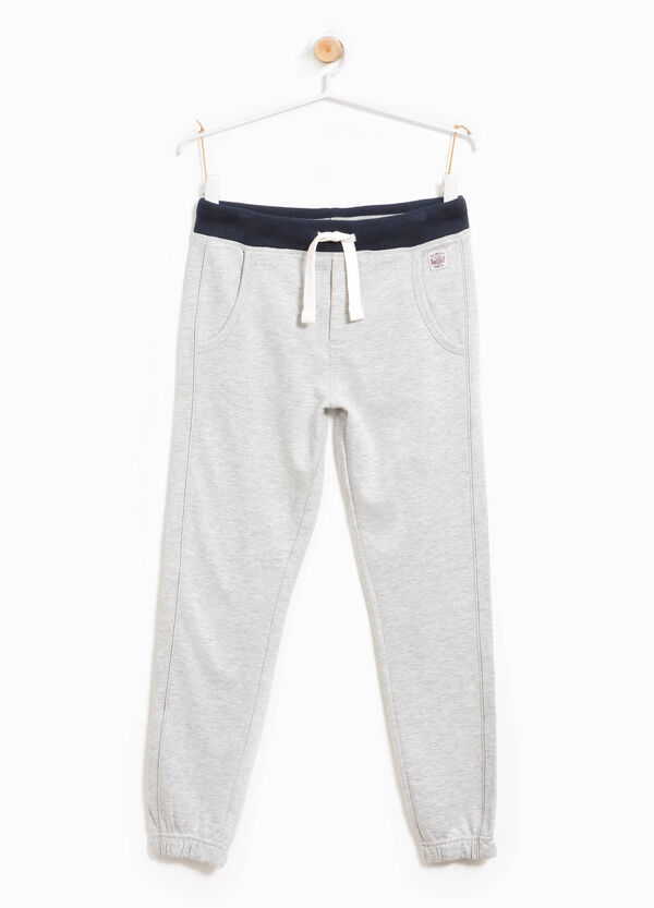Cotton joggers with contrasting colour waist