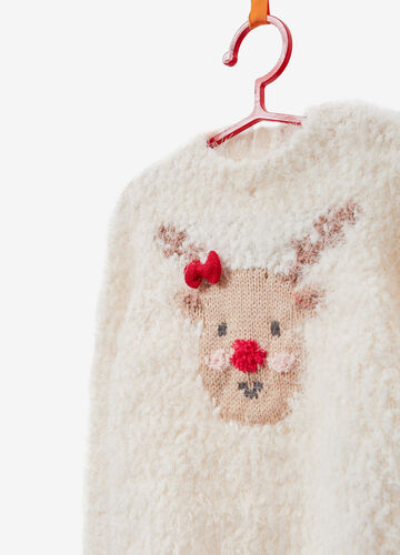 Christmas sweater with animal embroidery