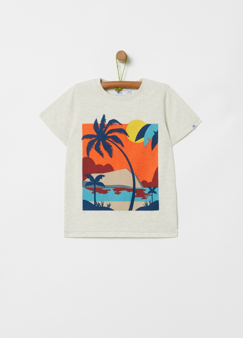 Mélange T-shirt with beach print image number null