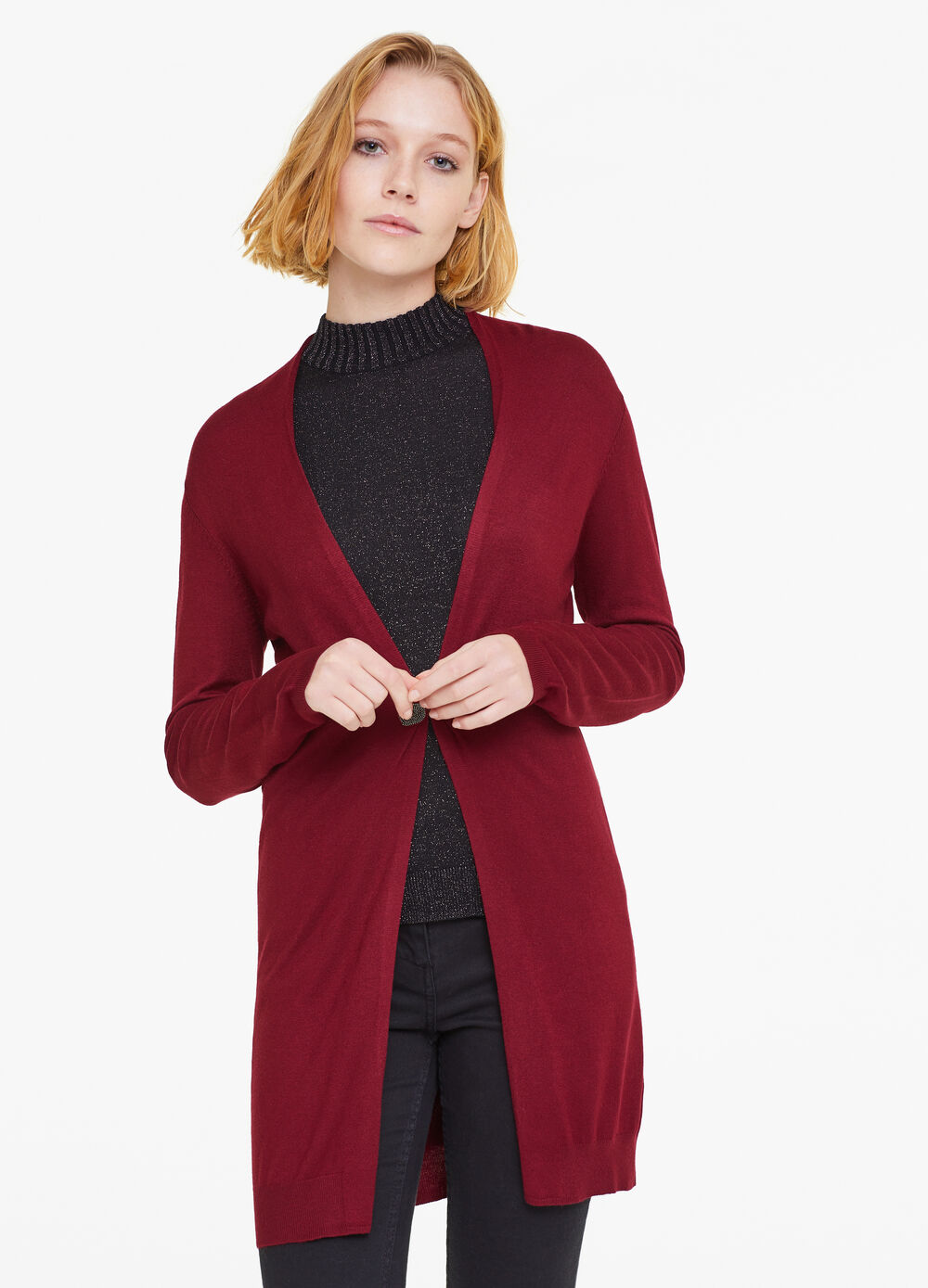 Long cardigan with hook