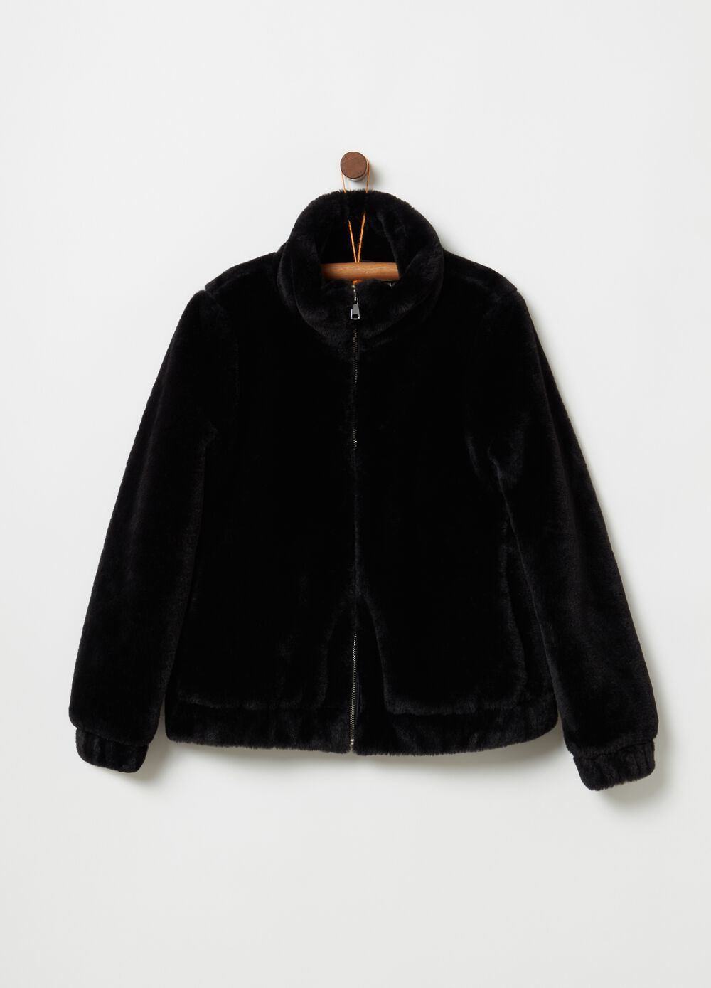 Faux fur jacket with zip