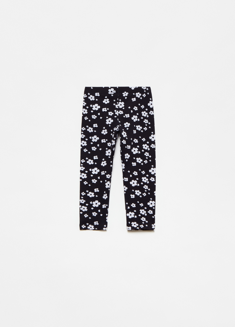 Leggings crop con stampa floreale image number null