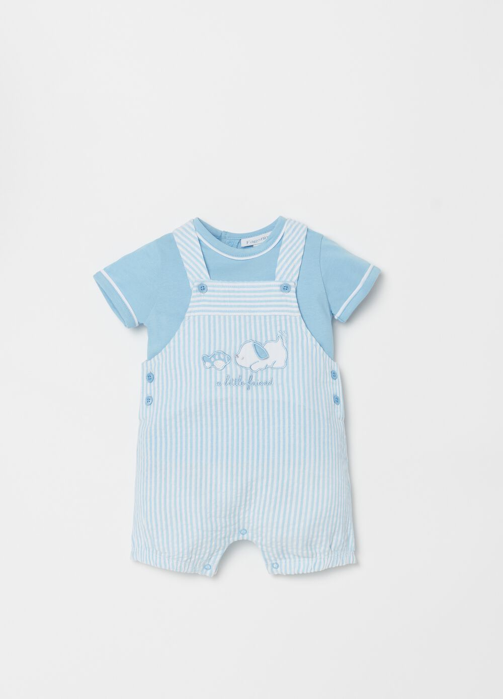 T-shirt and onesie set with embroidery and stripes