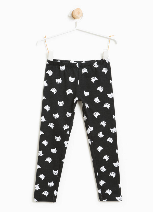 Leggings in stretch cotton with kitten pattern | OVS