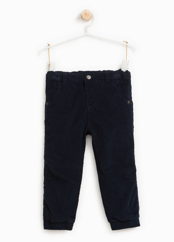 100% cotton ribbed trousers