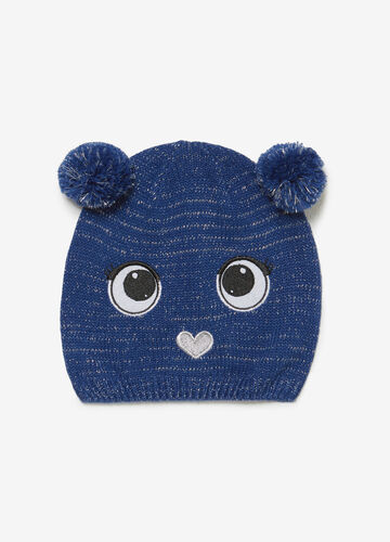 Glitter beanie cap with patch