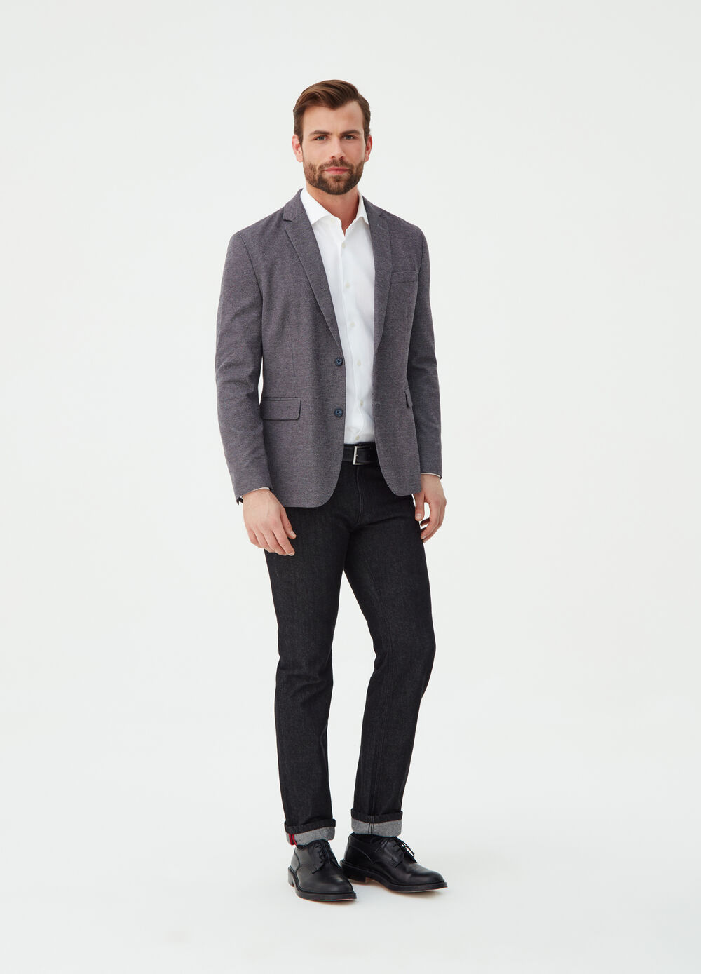 Two-button blazer with speckled weave
