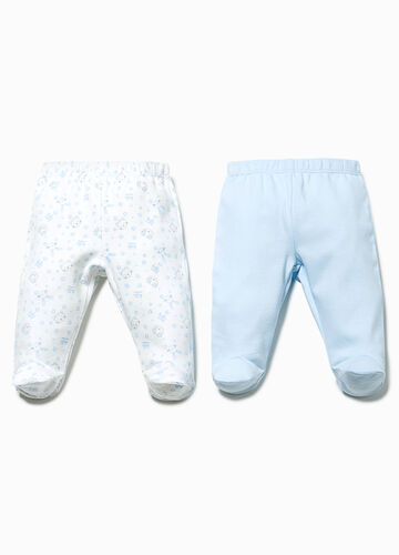 Two-pack baby leggings patterned and solid colour