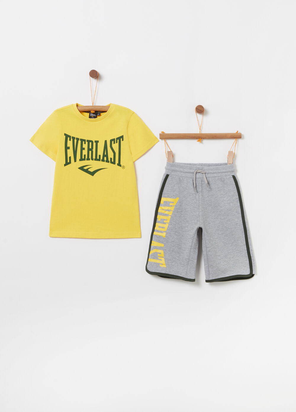 Mélange T-shirt and shorts jogging set with pocket