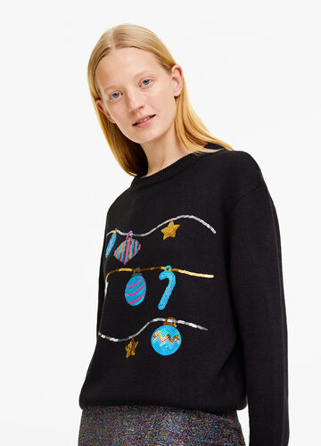 Christmas sweater with round neck and sequins