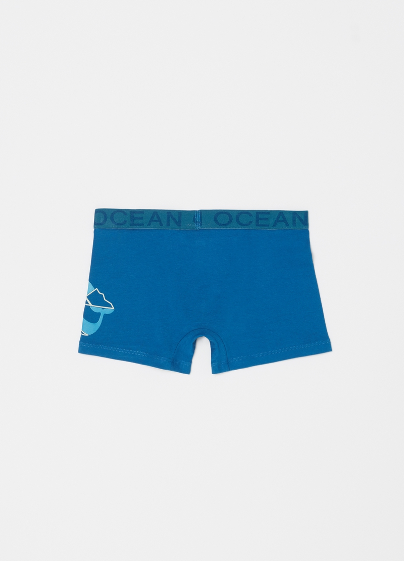 Stretch organic cotton boxer shorts with print image number null