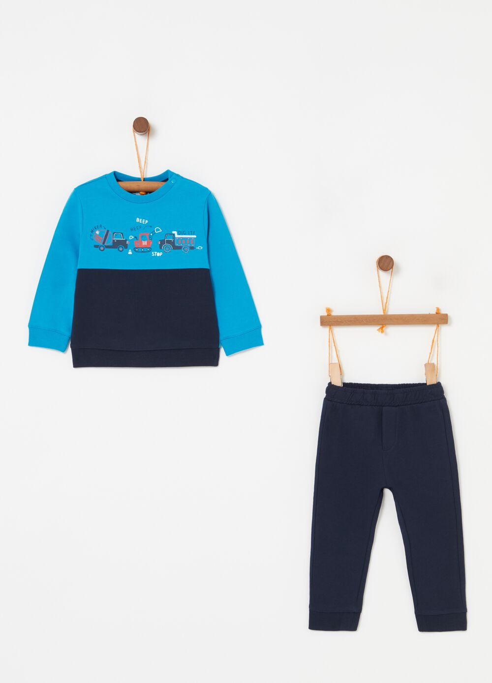 Two-tone jogging set with sweatshirt and print