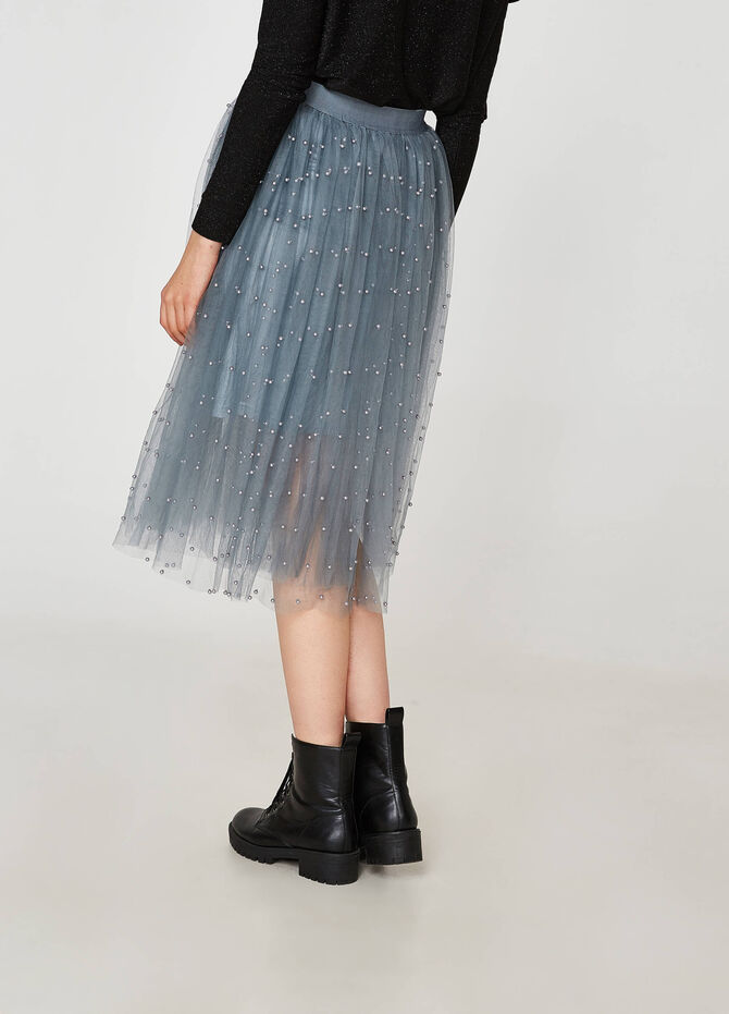 Gonna in tulle con perline