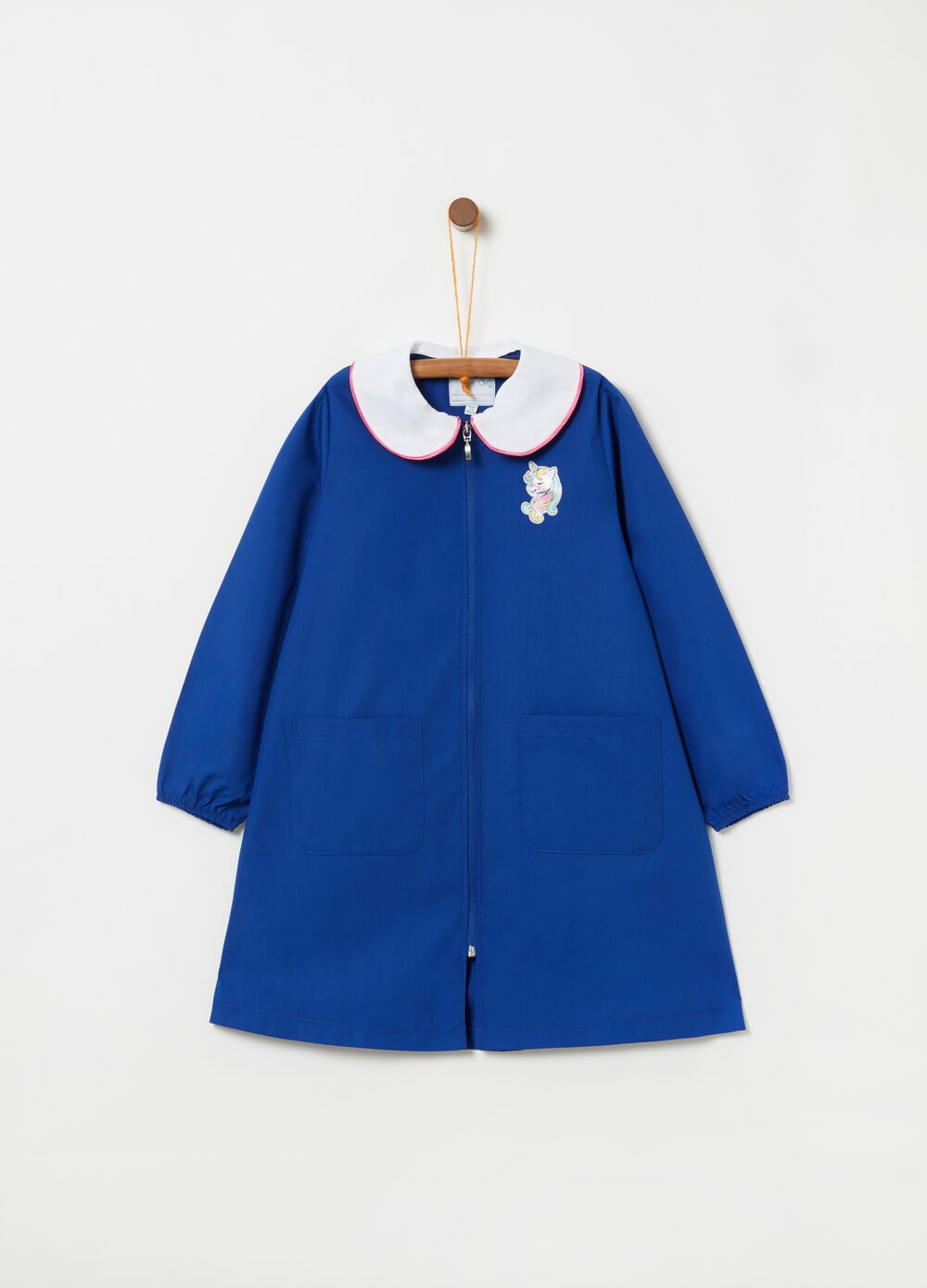 School smock with embroidered unicorn