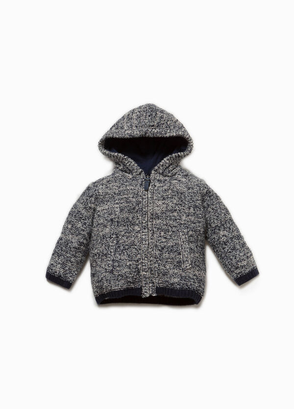 Knitted cotton pullover with zip | OVS
