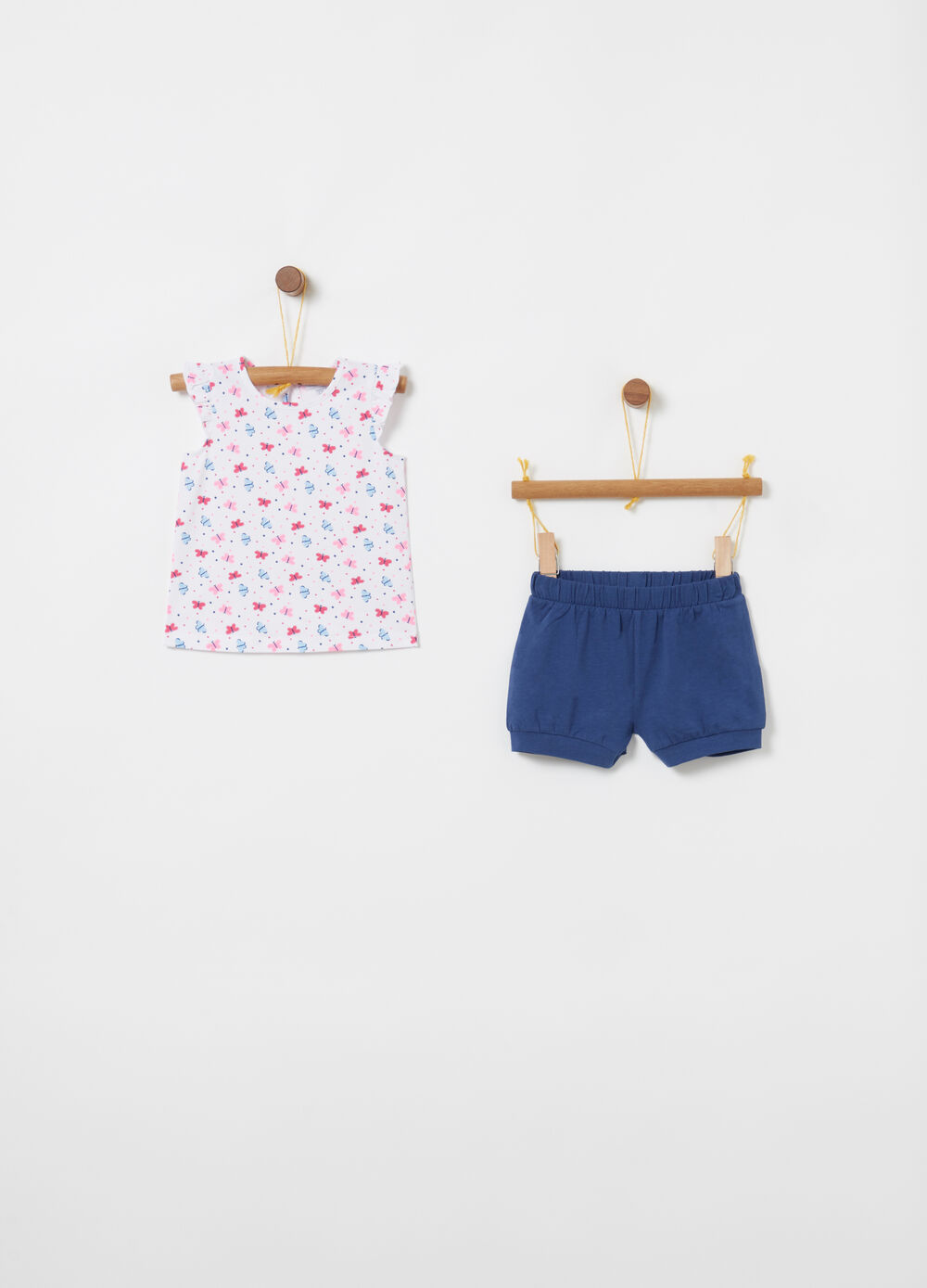 Jogging set t-shirt shorts rouches e pois