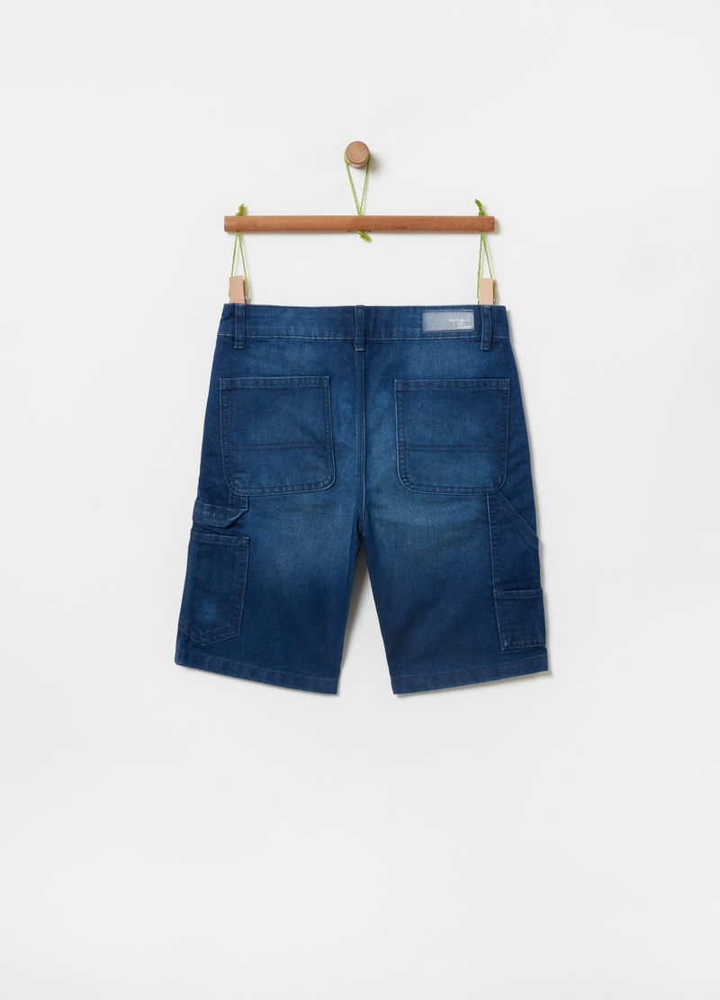 Denim Bermuda shorts with pockets image number null