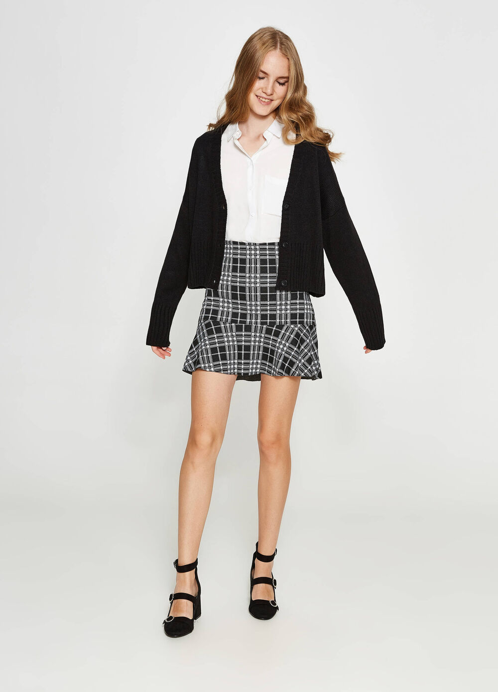 High-waisted check skirt with flounce