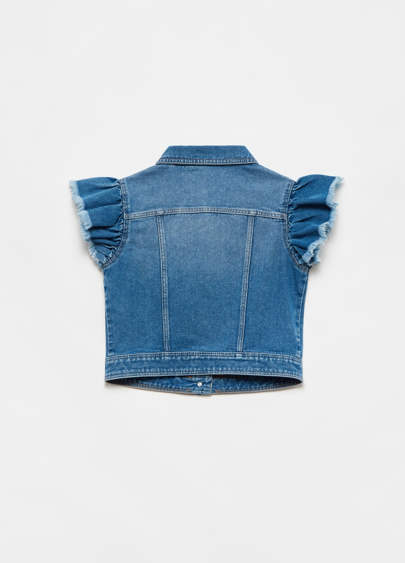 Denim gilet with flounce image number null