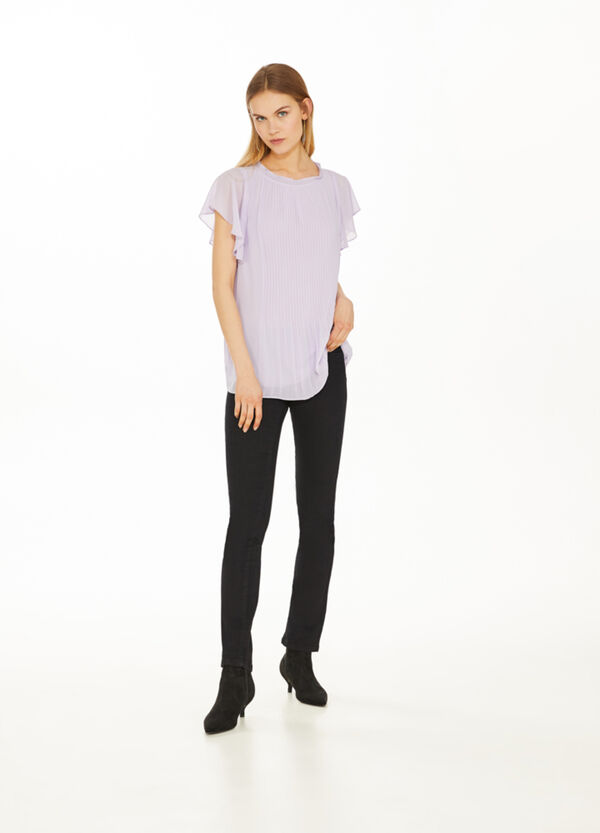 Pleated solid colour blouse