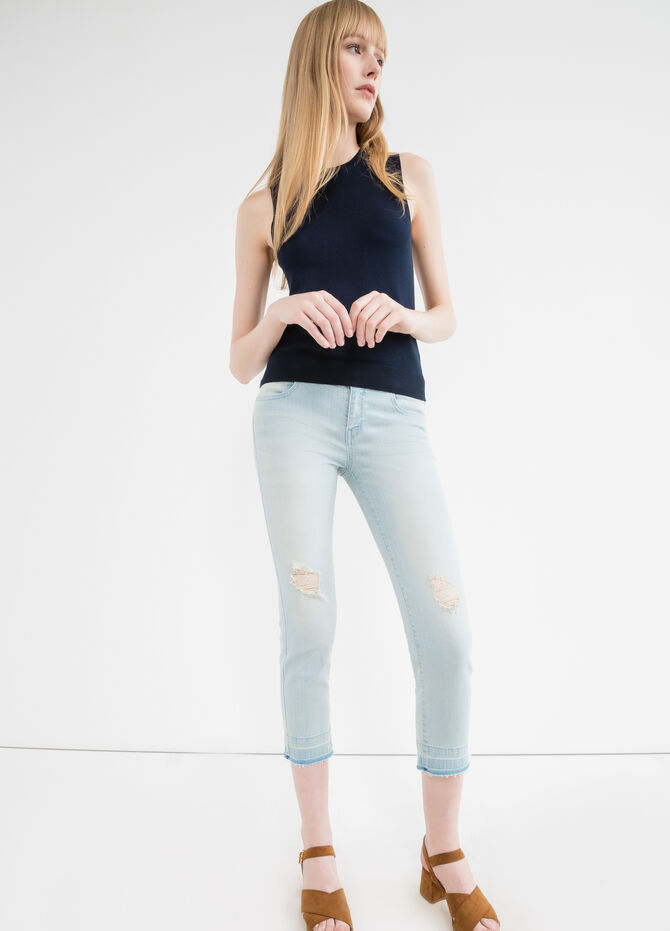 Jeans crop stretch con strappi