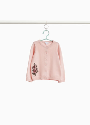 100% cotton cardigan with floral embroidery
