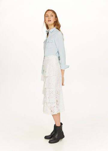 Cotton blend lace flounced skirt