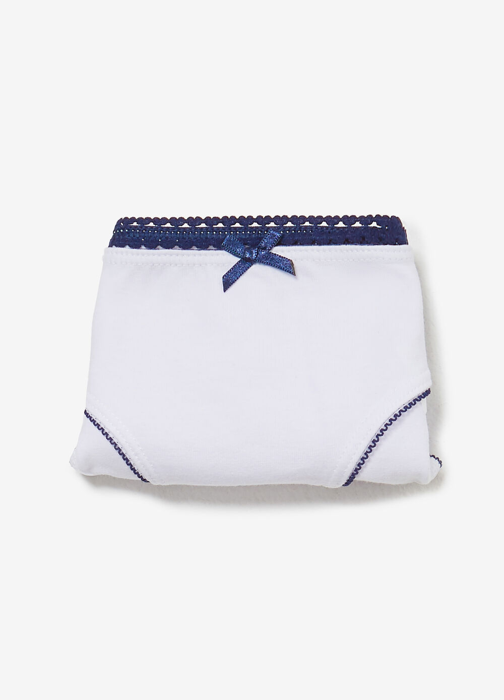 Stretch cotton briefs with bow