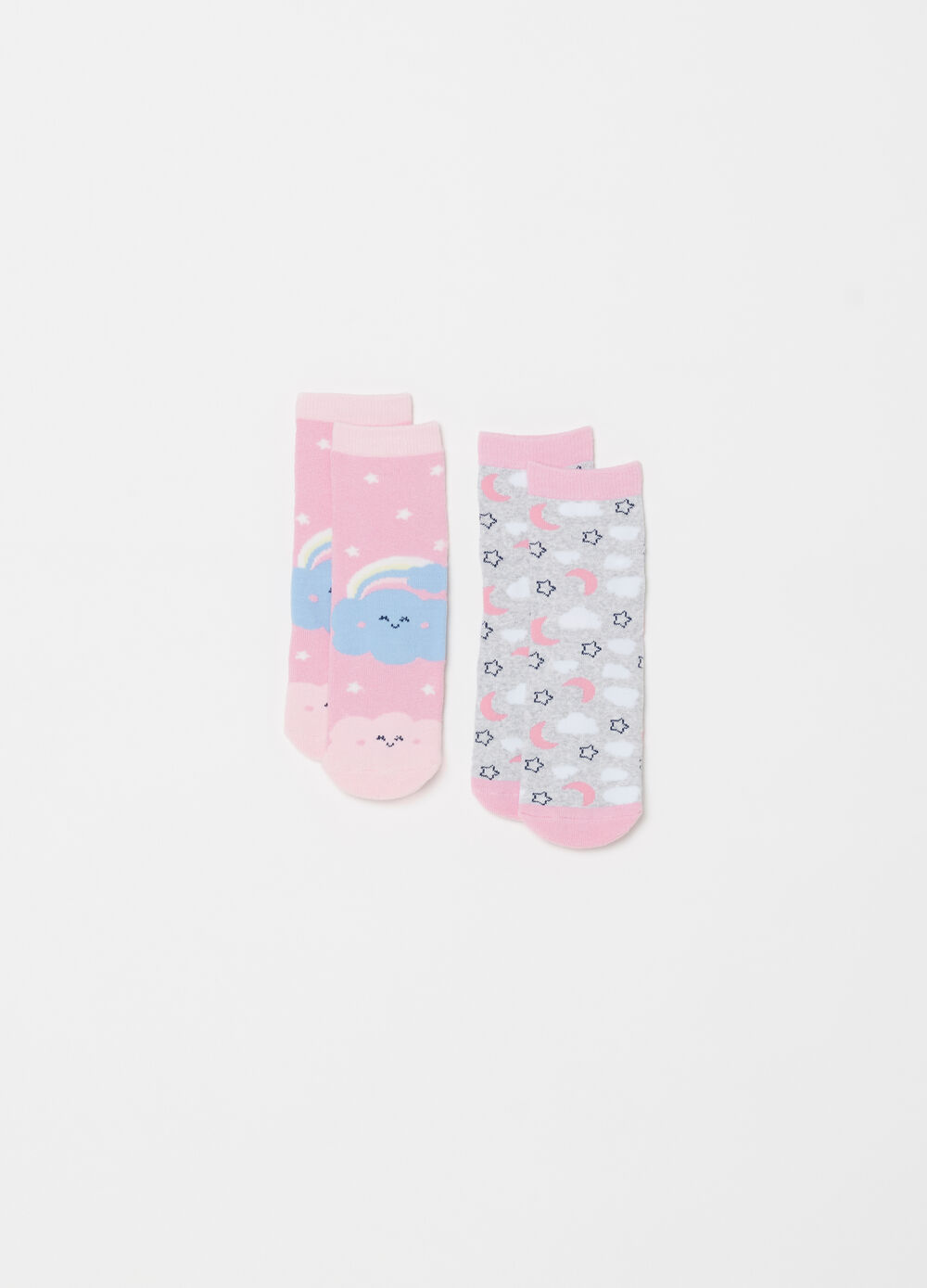 Two-pair pack short slipper socks