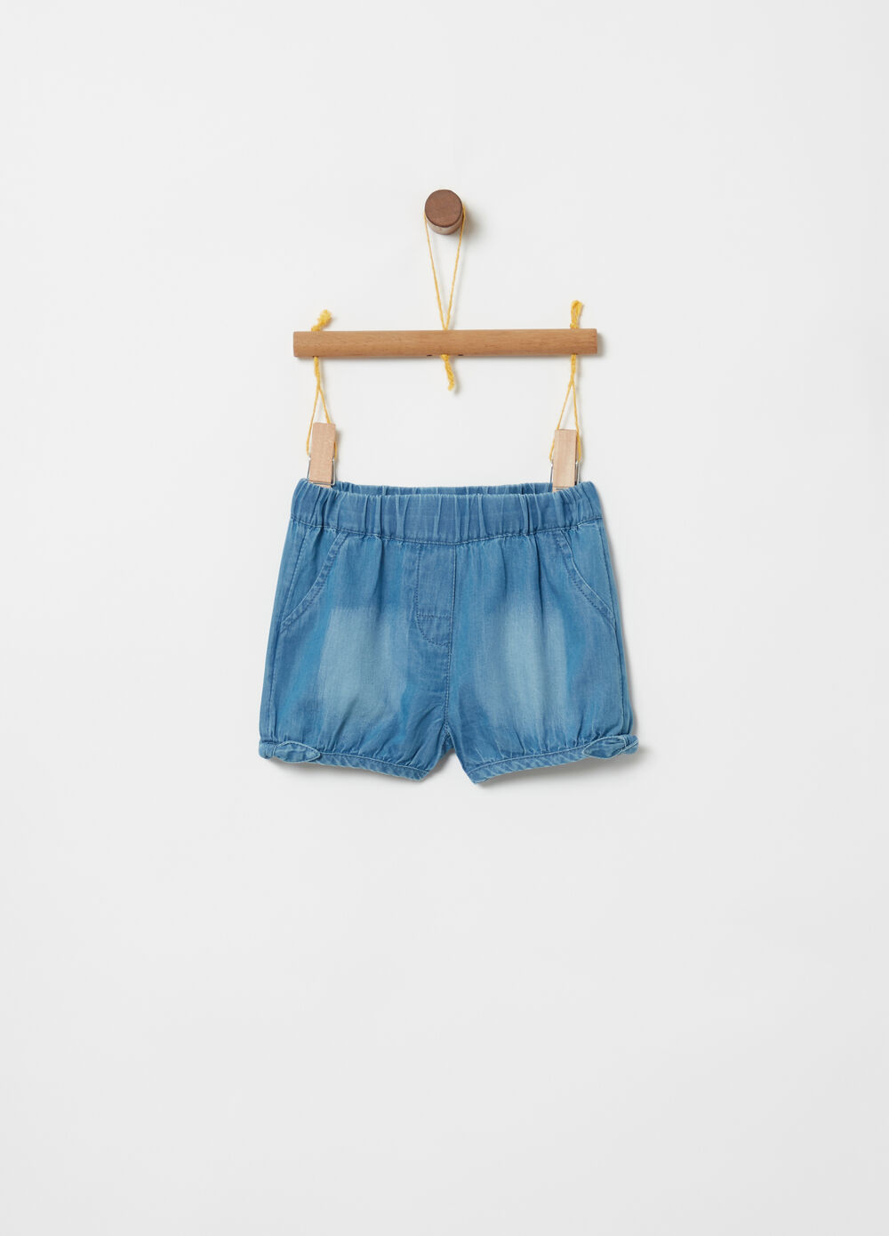 Shorts light denim vita elasticata fiocchetti