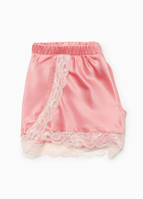 Solid colour pyjama shorts with lace