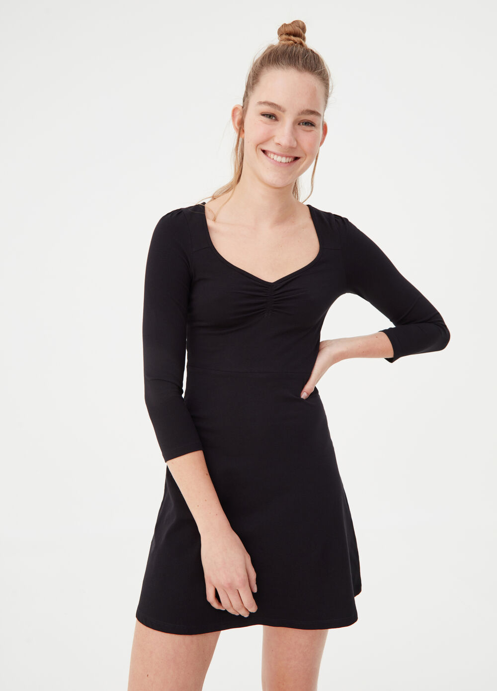 Dress in stretch cotton with heart neckline