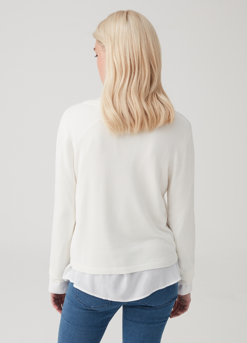 Viscose blend pullover with round neck image number null