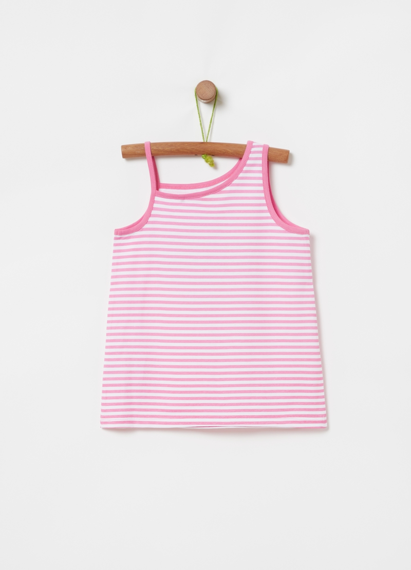 Tank top fantasia a righe stampa glitter image number null