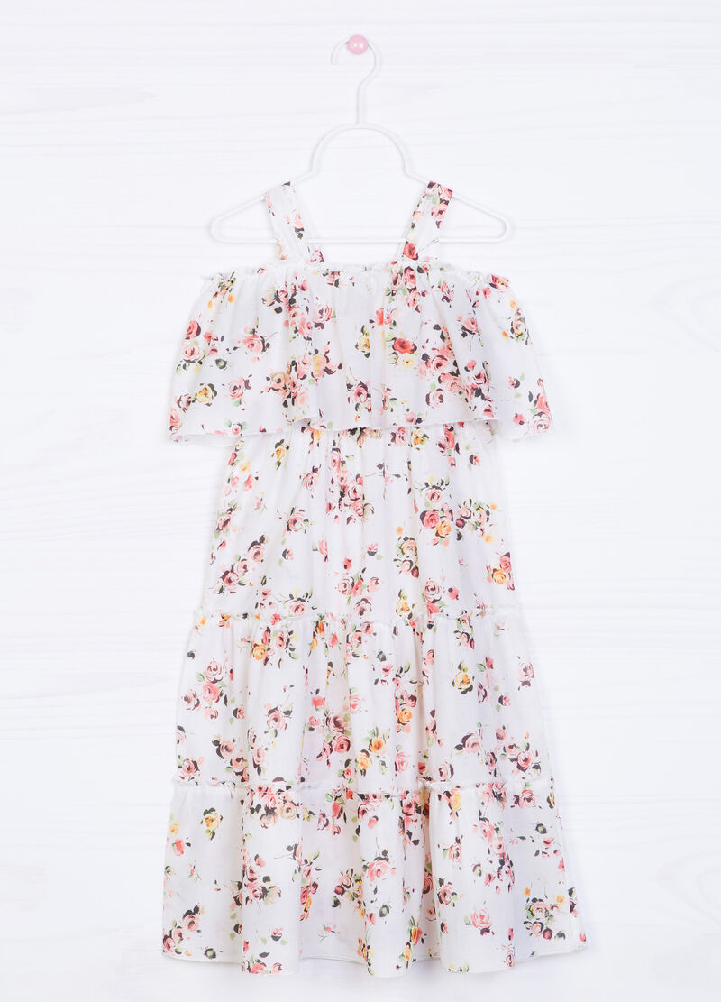 Full-length floral dress in 100% cotton