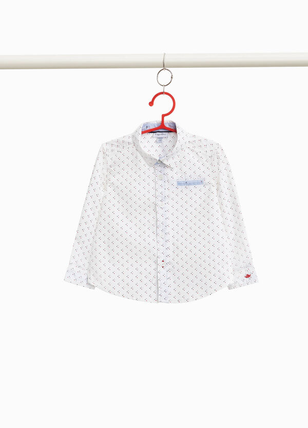 Polka dot shirt with boat embroidery