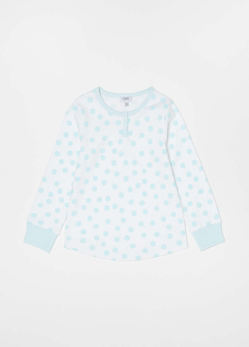Polka dot and striped pyjamas with granddad neckline image number null