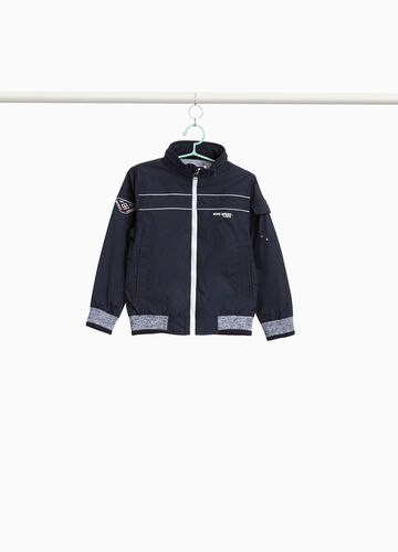 Jacket with patch and print