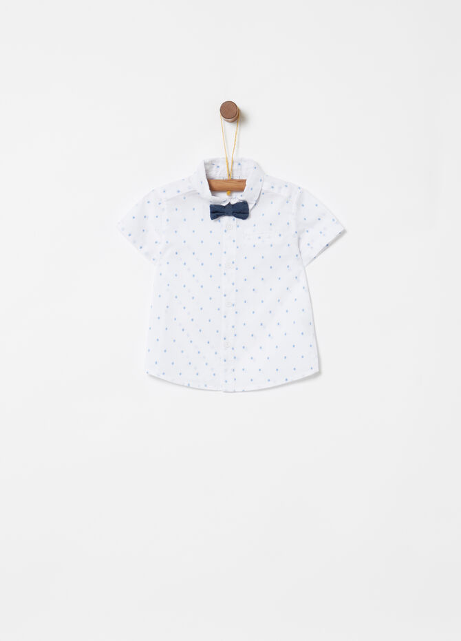 Shirt with bow tie, short sleeves and polka dots
