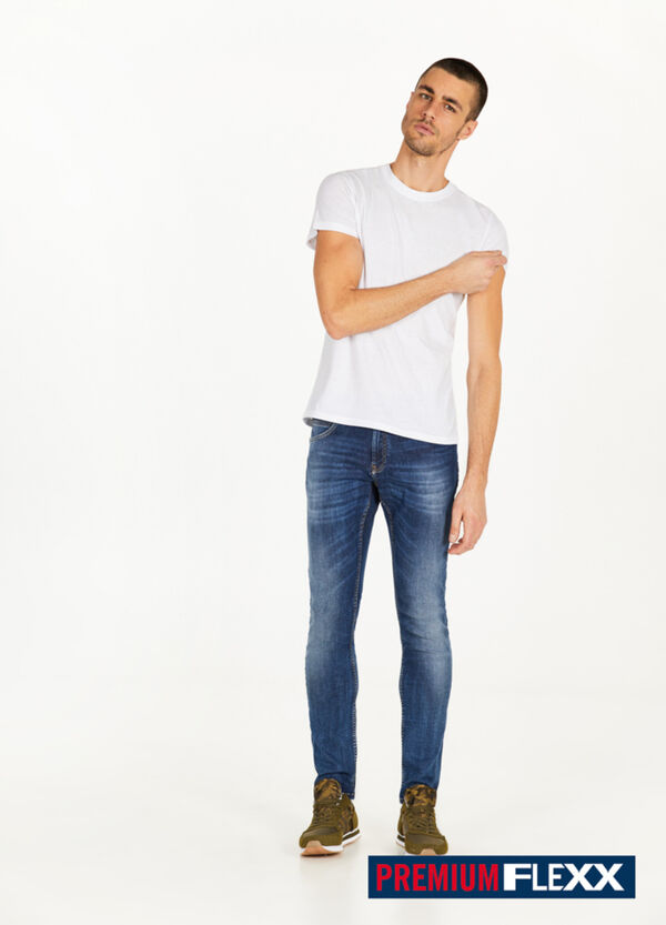 Jeans slim fit used stretch baffature