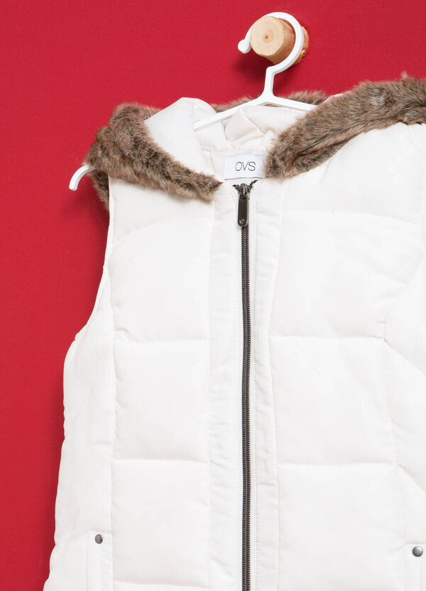 Gilet with hood in faux fur | OVS