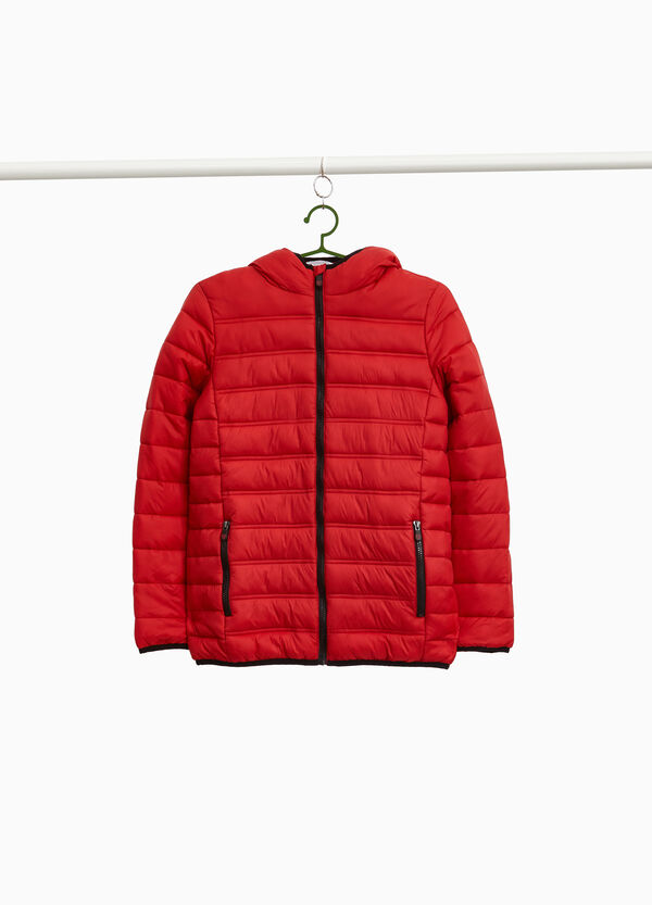 Down jacket with trimmed hood