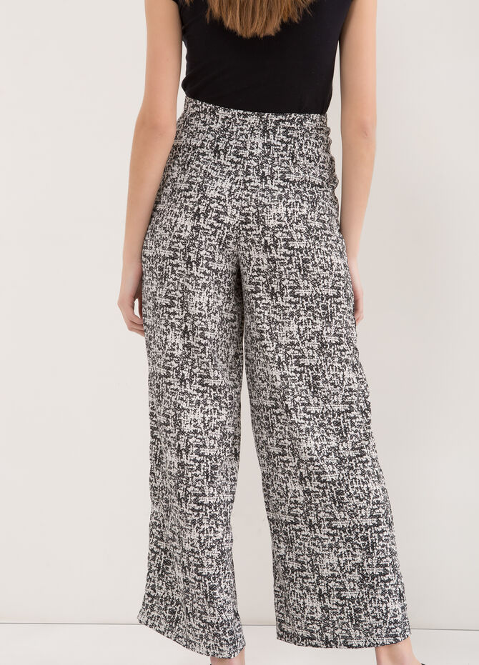 Patterned trousers with high waist